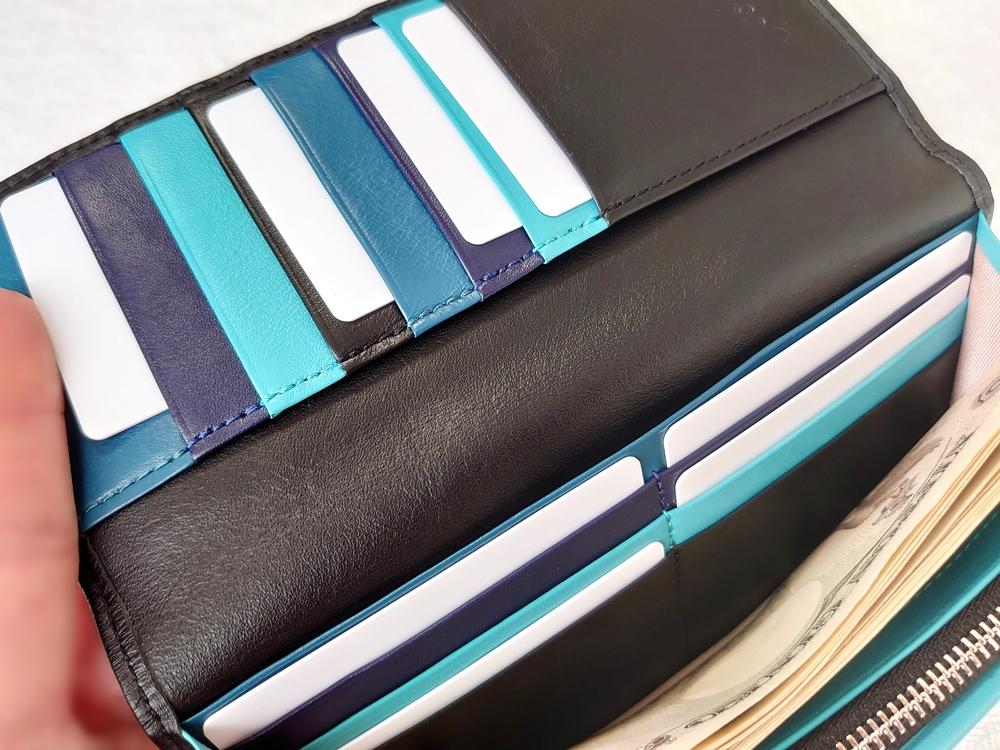 スリム長財布(カード収納13段)ブラック レビュー JOGGO(ジョッゴ)実際にお金とカードを入れた状態③