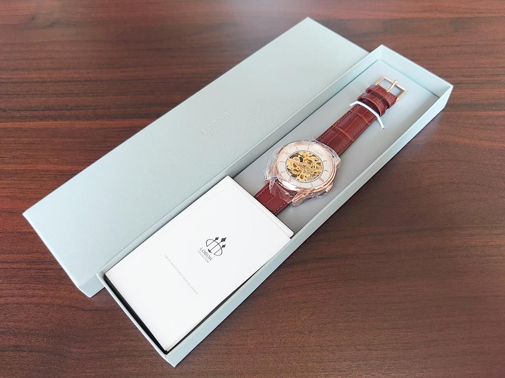 DYNASTY CHARLEMAGNE BROWN 40mm(ダイナスティー)ピンクゴールド ブラウンレザー LOBOR(ロバー)保護シール パッケージ 保証書