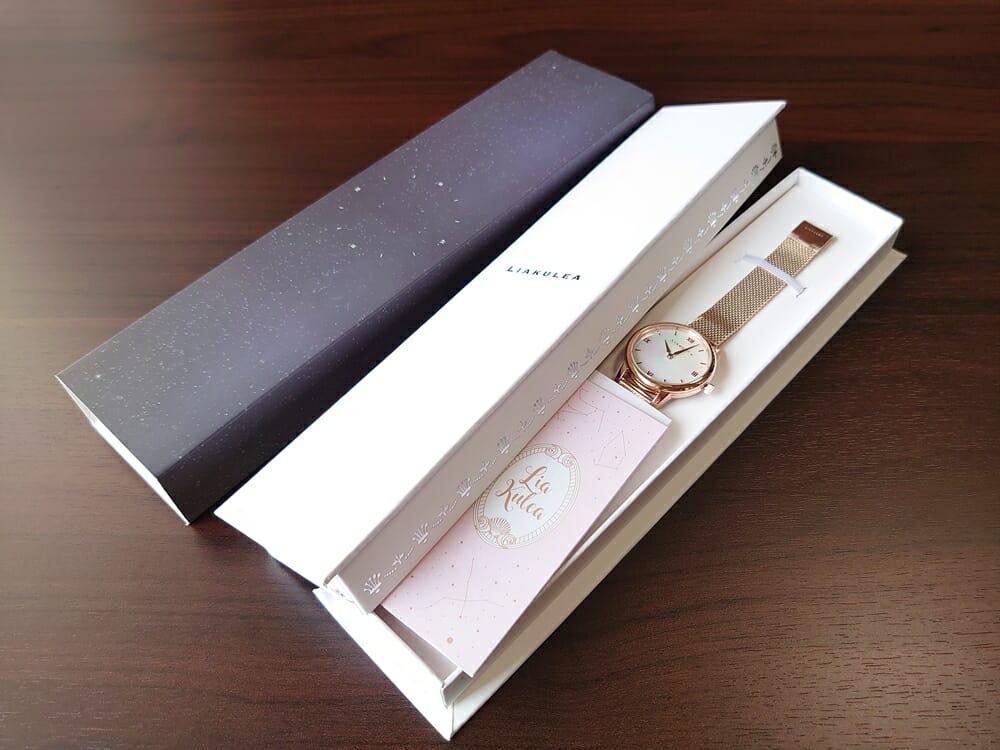 Luana(ルアナ)P08L 32mm ピンクゴールド メッシュストラップ LIAKULEA(リアクレア)腕時計レビュー パッケージング 化粧カバー 2