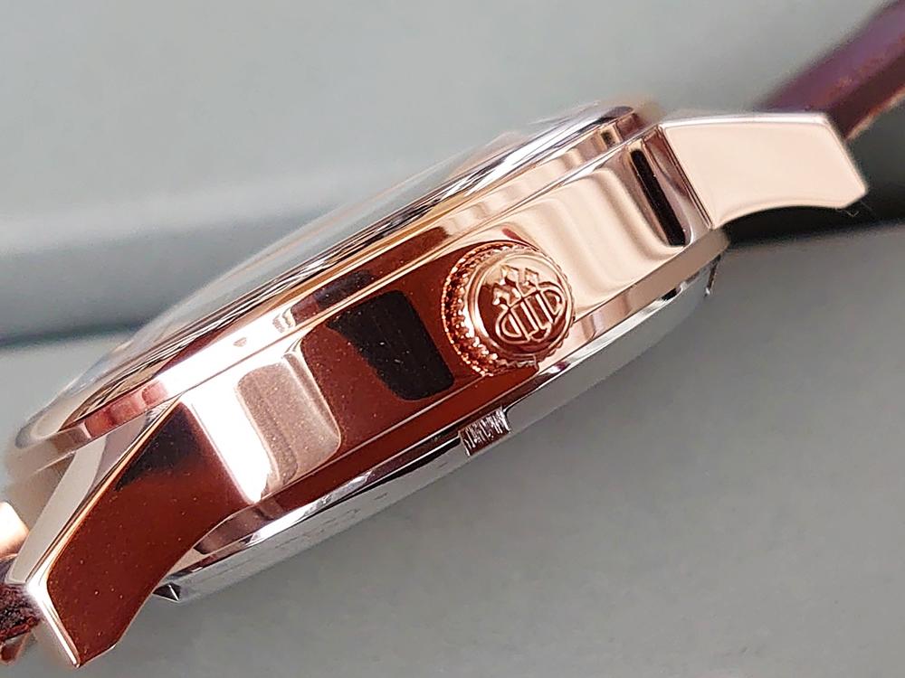 DYNASTY CHARLEMAGNE BROWN 40mm(ダイナスティー)ピンクゴールド ブラウンレザー LOBOR(ロバー)ピンクゴールドケース 厚み リューズ