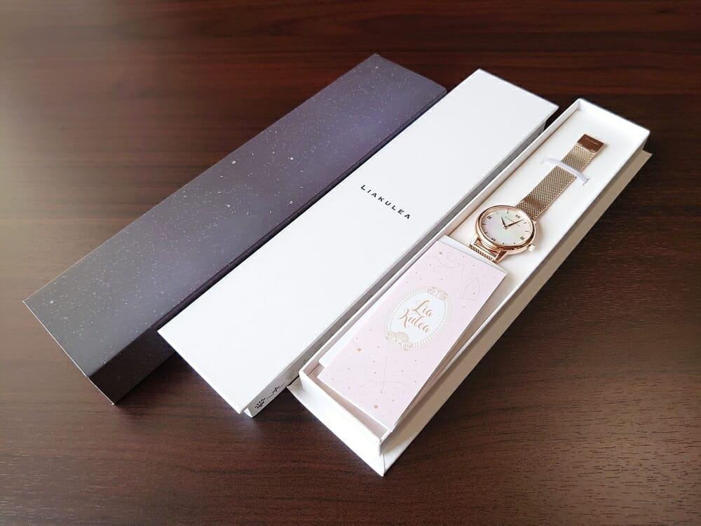 Luana(ルアナ)P08L 32mm ピンクゴールド メッシュストラップ LIAKULEA(リアクレア)腕時計レビュー パッケージング 化粧カバー 3