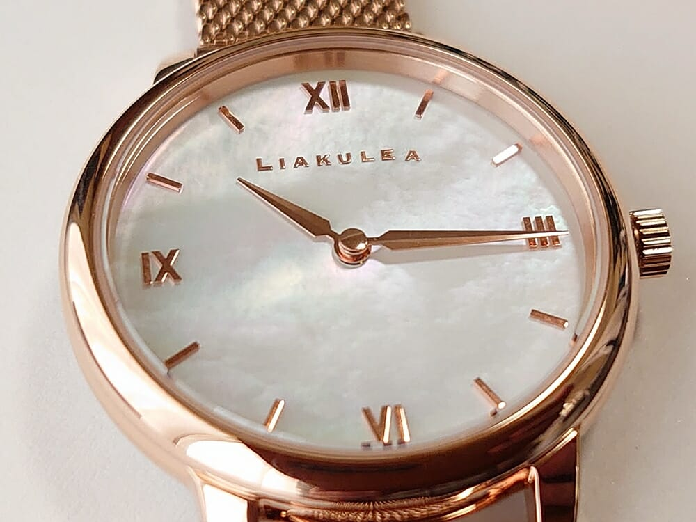 Luana(ルアナ)P08L 32mm ピンクゴールド メッシュストラップ LIAKULEA(リアクレア)天然シェル ダイアル アップ 4