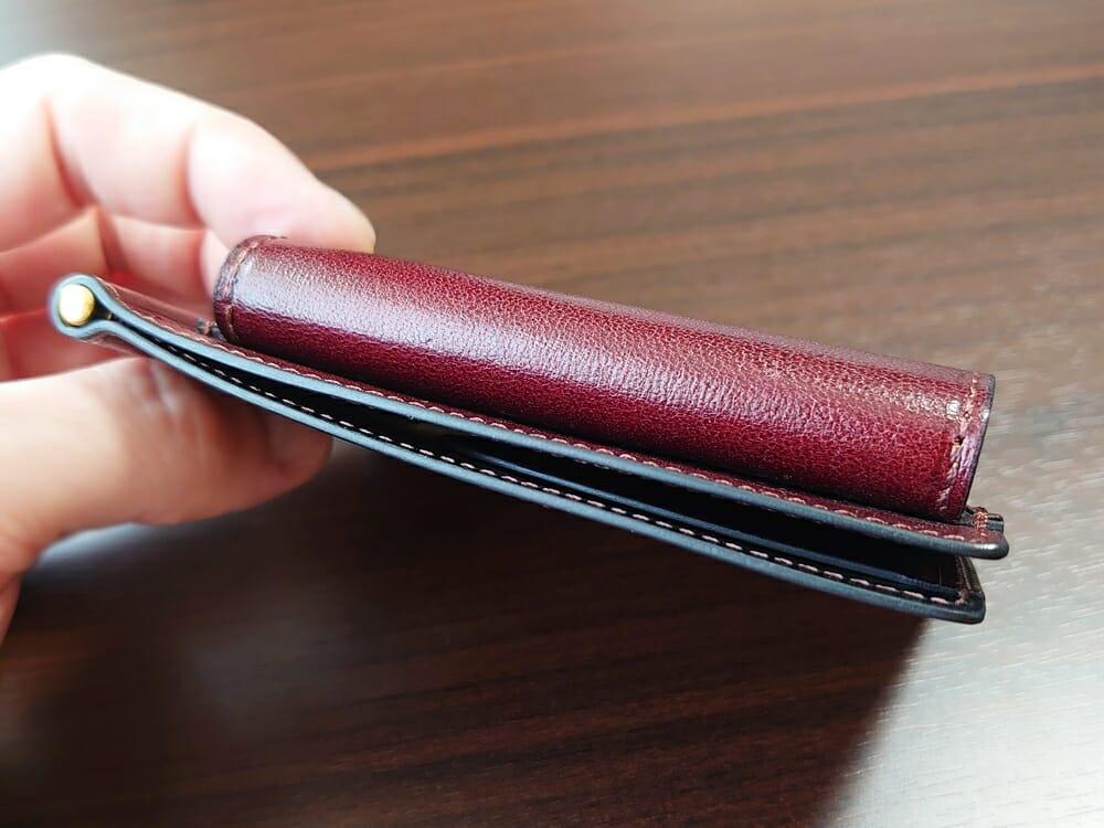 手揉みレザー マネークリップ コインケース付き LONESOME(ロンサム)Mens Leather Store(メンズレザーストア)財布の厚み
