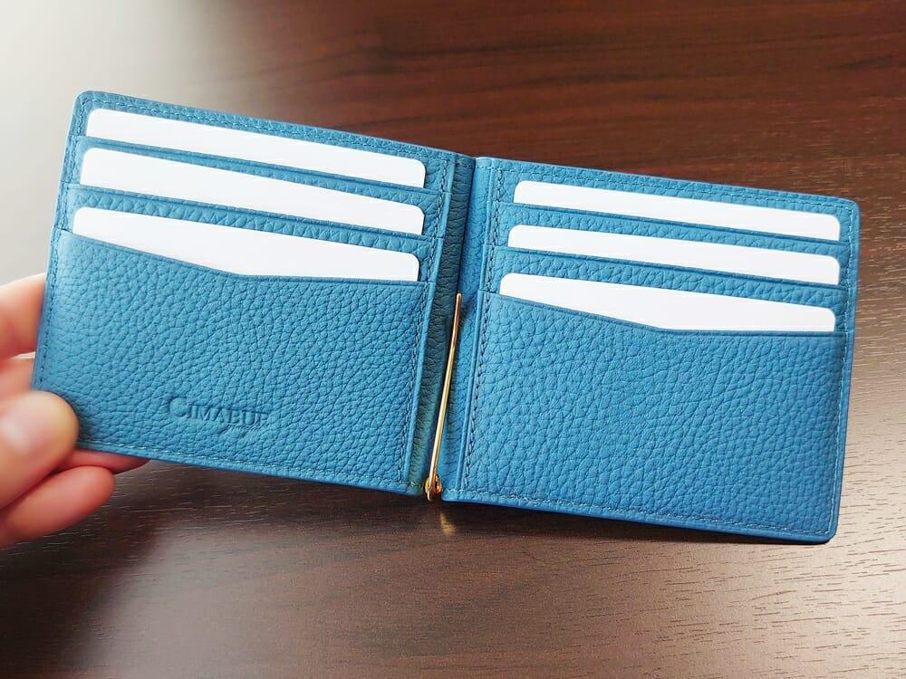 シュランケンカーフ マネークリップ(Blue)CIMABUE(チマブエ)Mens Leather Store(メンズレザーストア)カードポケット カード6枚収納
