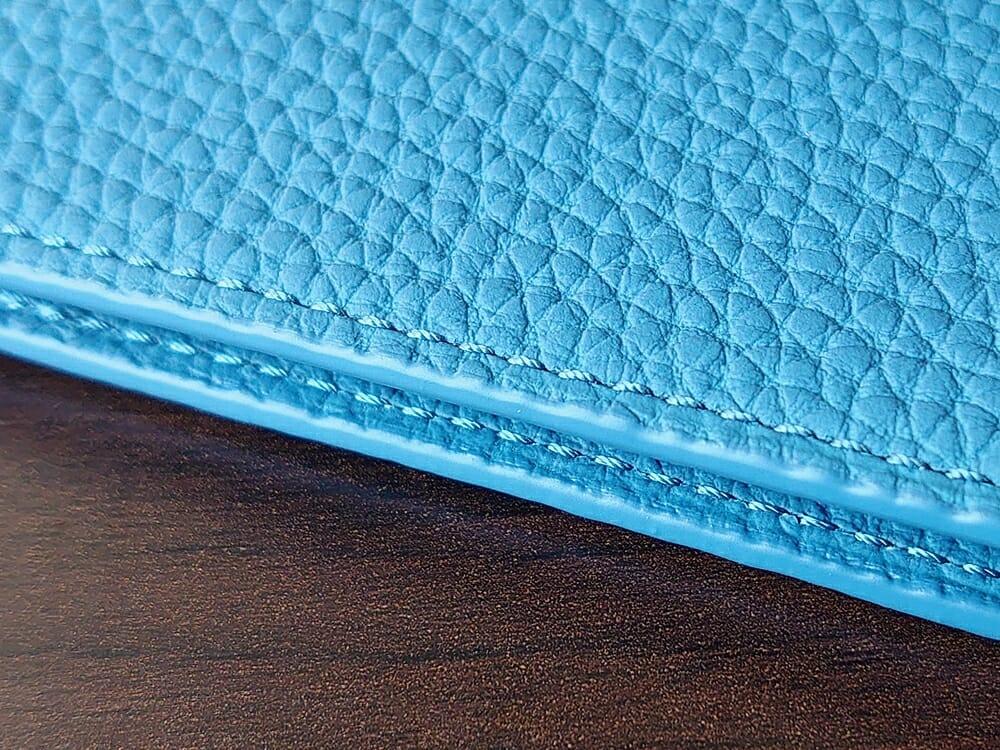 シュランケンカーフ マネークリップ(Blue)CIMABUE(チマブエ)Mens Leather Store(メンズレザーストア)ステッチ 縫い目 アップ