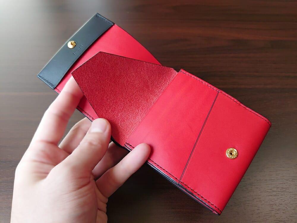 リスシオ ショート財布「Black x Red」NIBUR(ニブール)Mens Leather Store(メンズレザーストア)財布 内装 小銭入れ 床面