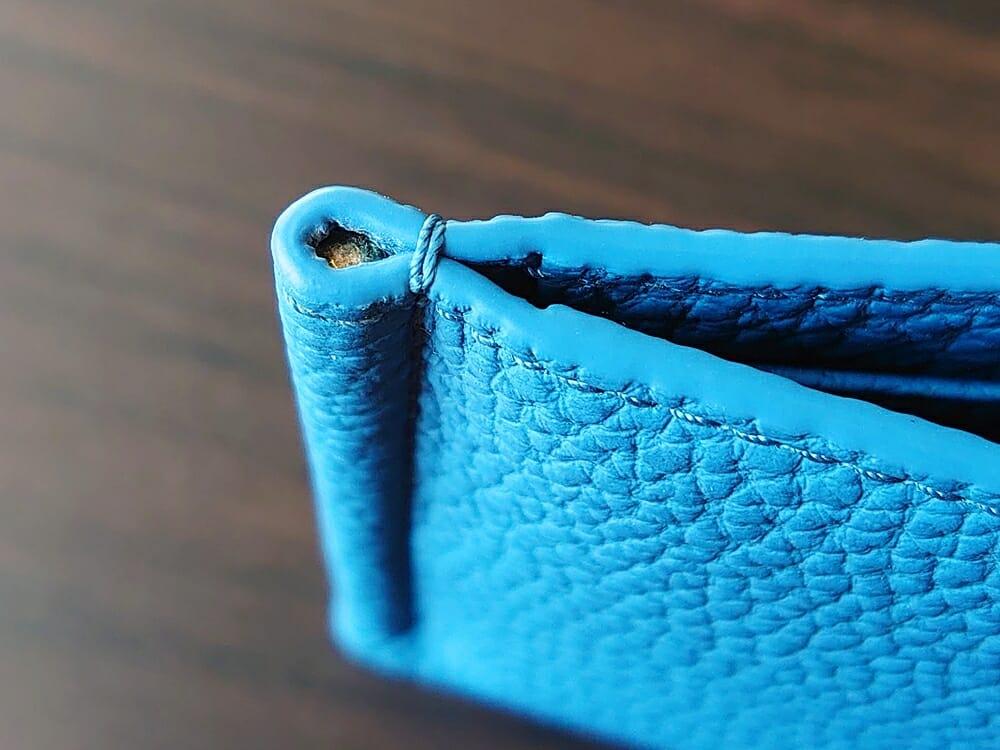 シュランケンカーフ マネークリップ(Blue)CIMABUE(チマブエ)Mens Leather Store(メンズレザーストア)コバの仕上がり クリップ部分