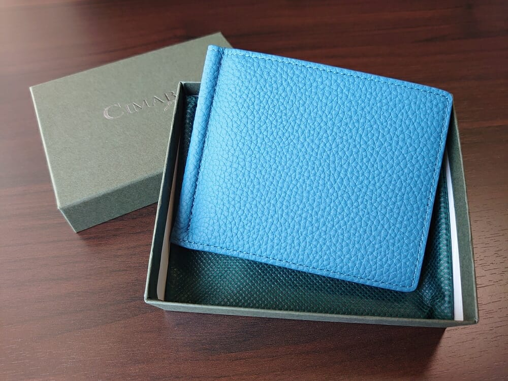 シュランケンカーフ マネークリップ(Blue)CIMABUE(チマブエ)Mens Leather Store(メンズレザーストア)パッケージング 財布 外装