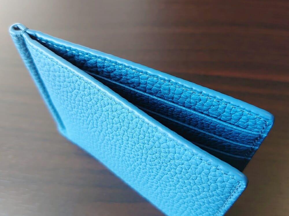 シュランケンカーフ マネークリップ(Blue)CIMABUE(チマブエ)Mens Leather Store(メンズレザーストア)コバの仕上がり