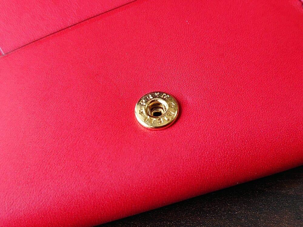 リスシオ ショート財布「Black x Red」NIBUR(ニブール)Mens Leather Store(メンズレザーストア)イタリア プリムボタン 金メッキ 1
