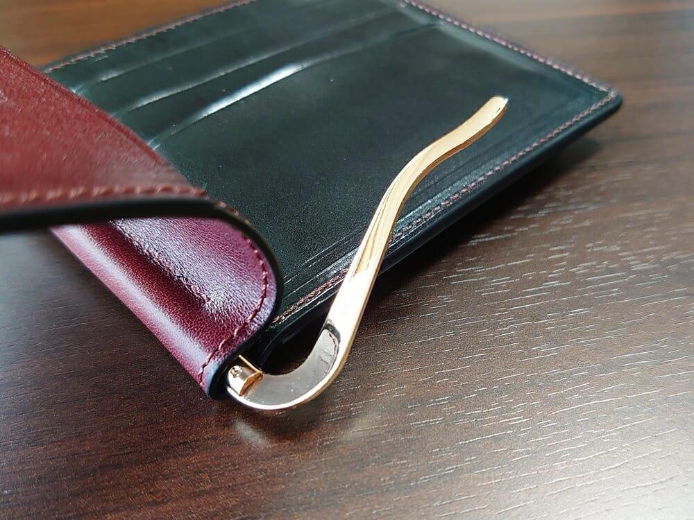 手揉みレザー マネークリップ コインケース付き LONESOME(ロンサム)Mens Leather Store(メンズレザーストア)マネークリップ ゴールド