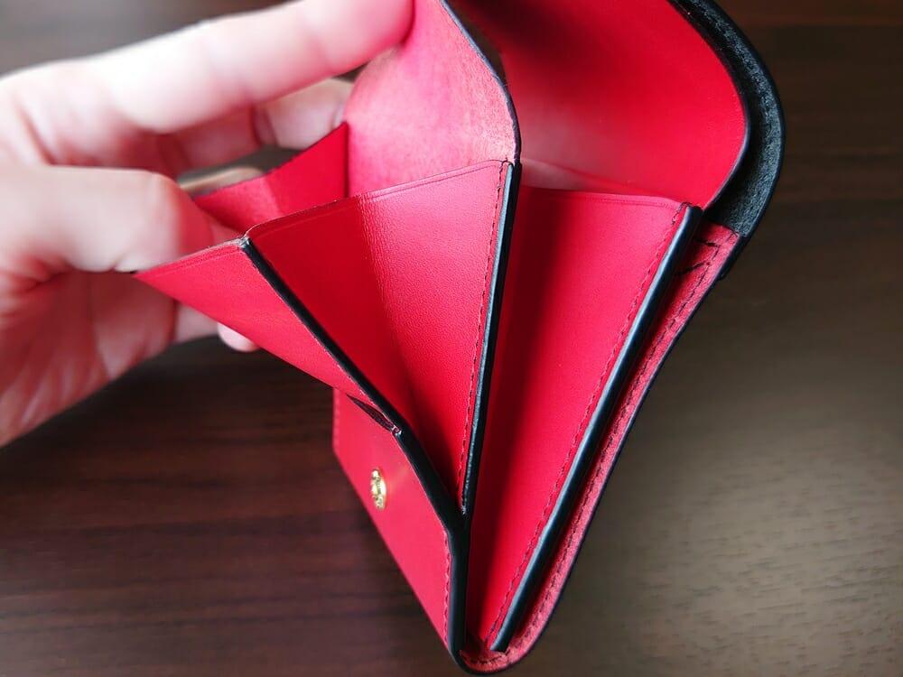 リスシオ ショート財布「Black x Red」NIBUR(ニブール)Mens Leather Store(メンズレザーストア)小銭入れ マチ