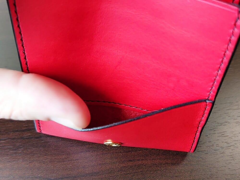 リスシオ ショート財布「Black x Red」NIBUR(ニブール)Mens Leather Store(メンズレザーストア)マルチポケット(小銭入れのカブセ差込)