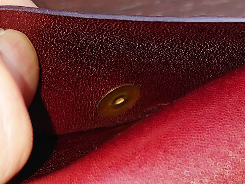 手揉みレザー マネークリップ コインケース付き LONESOME(ロンサム)Mens Leather Store(メンズレザーストア)コインケース 小銭入れ ボタン フタの内側
