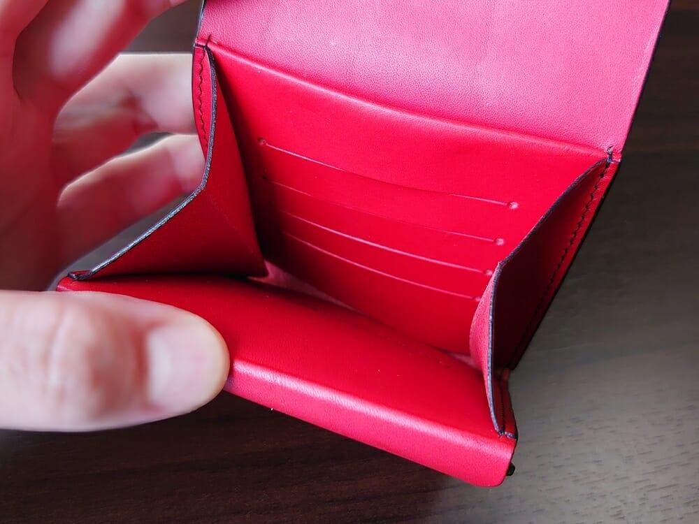リスシオ ショート財布「Black x Red」NIBUR(ニブール)Mens Leather Store(メンズレザーストア)マルチポケット カード入れ前面