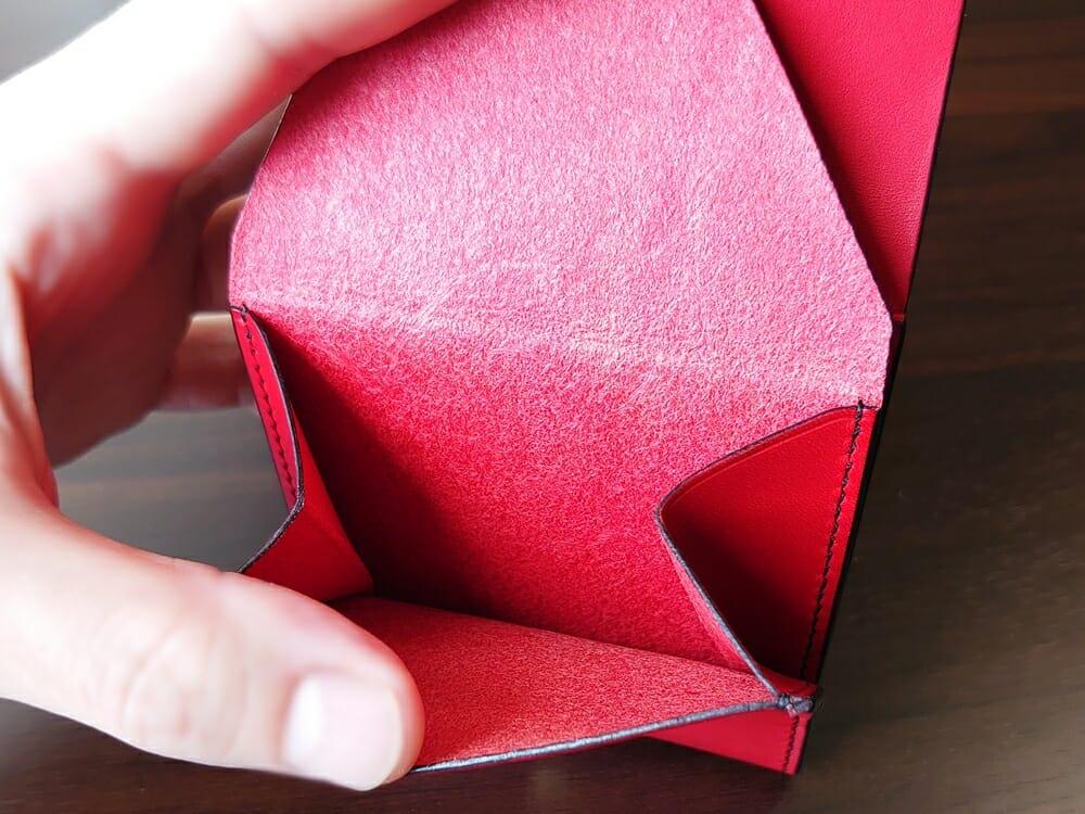 リスシオ ショート財布「Black x Red」NIBUR(ニブール)Mens Leather Store(メンズレザーストア)小銭入れ 内装