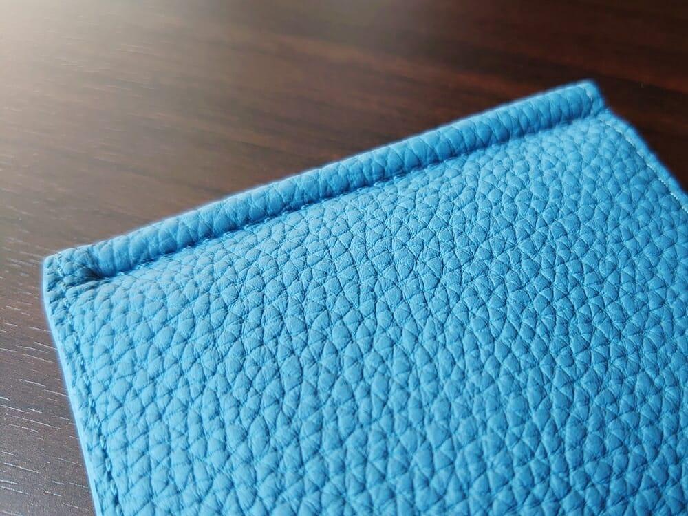 シュランケンカーフ マネークリップ(Blue)CIMABUE(チマブエ)Mens Leather Store(メンズレザーストア)ステッチ 縫い目 アップ クリップ 芯