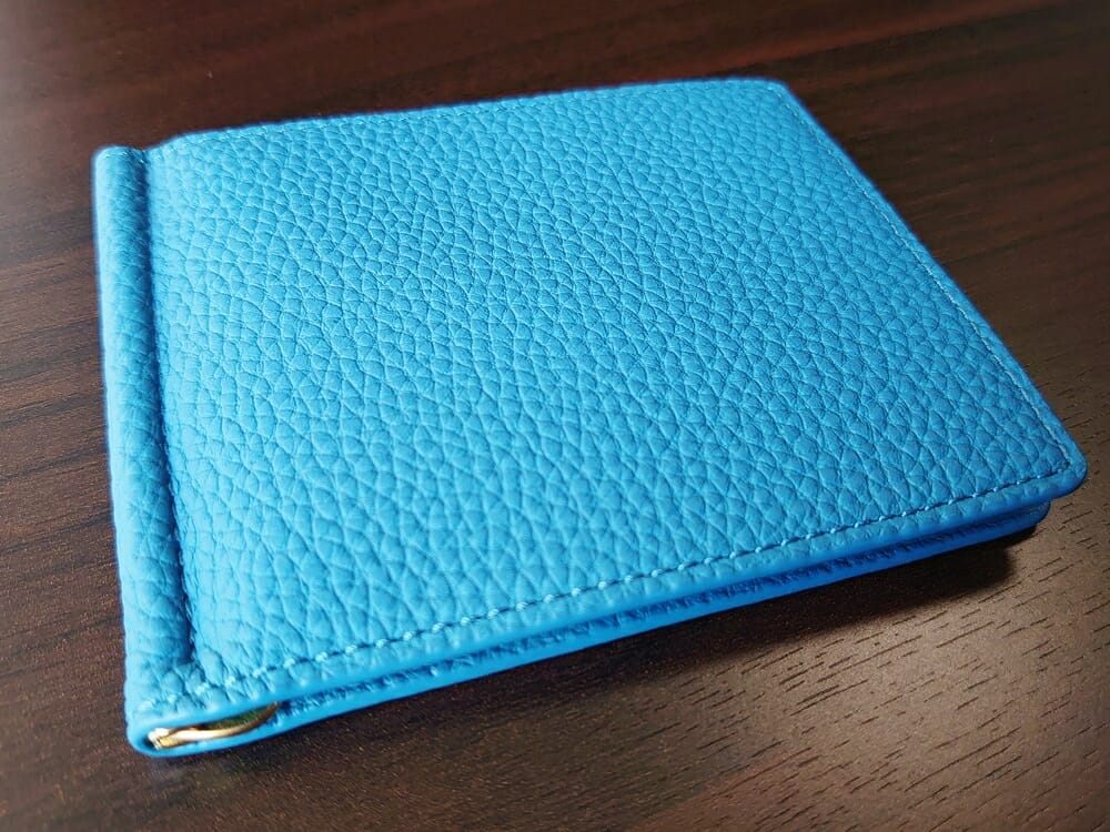 シュランケンカーフ マネークリップ(Blue)CIMABUE(チマブエ)Mens Leather Store(メンズレザーストア)シュランケンカーフの質感