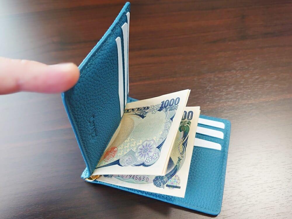 シュランケンカーフ マネークリップ(Blue)CIMABUE(チマブエ)Mens Leather Store(メンズレザーストア)札バサミ クリップ 財布を閉じる スペース 2