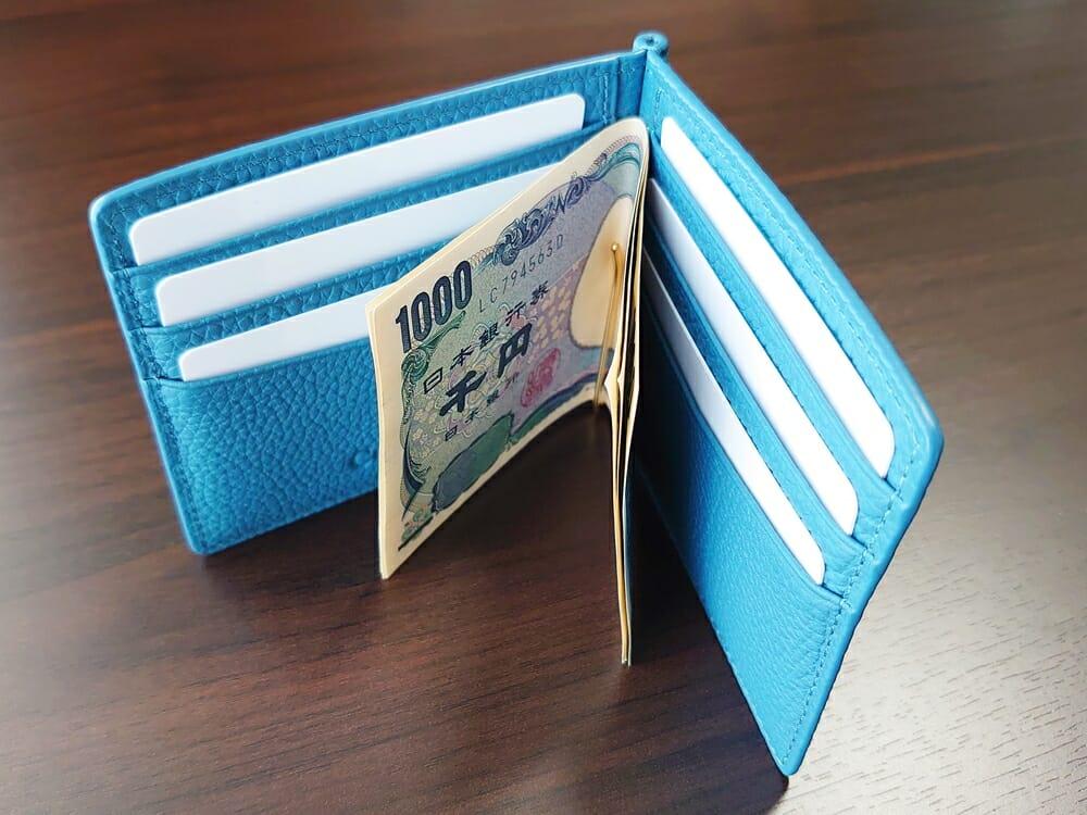 シュランケンカーフ マネークリップ(Blue)CIMABUE(チマブエ)Mens Leather Store(メンズレザーストア)札バサミ クリップ 財布を閉じる スペース 上から