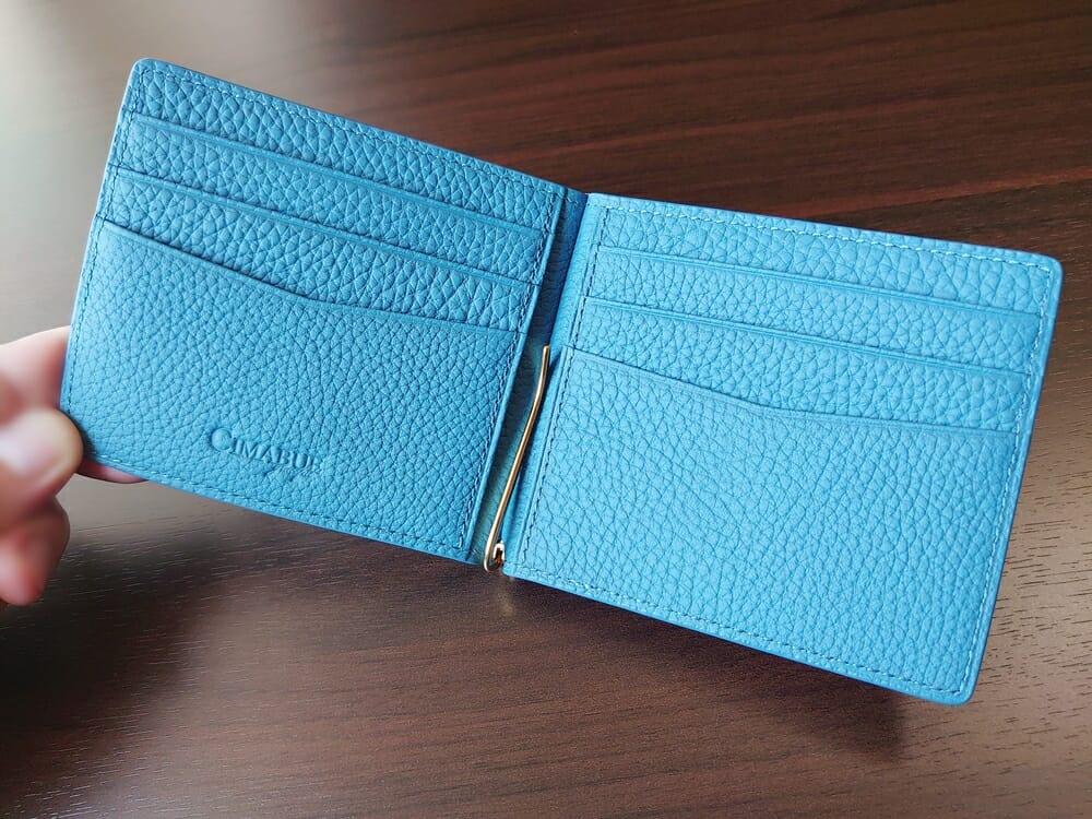 シュランケンカーフ マネークリップ(Blue)CIMABUE(チマブエ)Mens Leather Store(メンズレザーストア)カードポケット 全体 6ヵ所