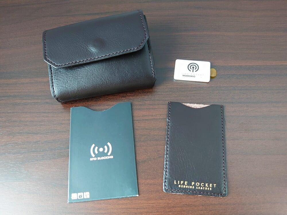 LIFE POCKET(ライフポケット)MiniWallet3 ミニウォレット3 セット内容MAMORIO RFIDブロッキングスリーブ マルチレザースリーブ