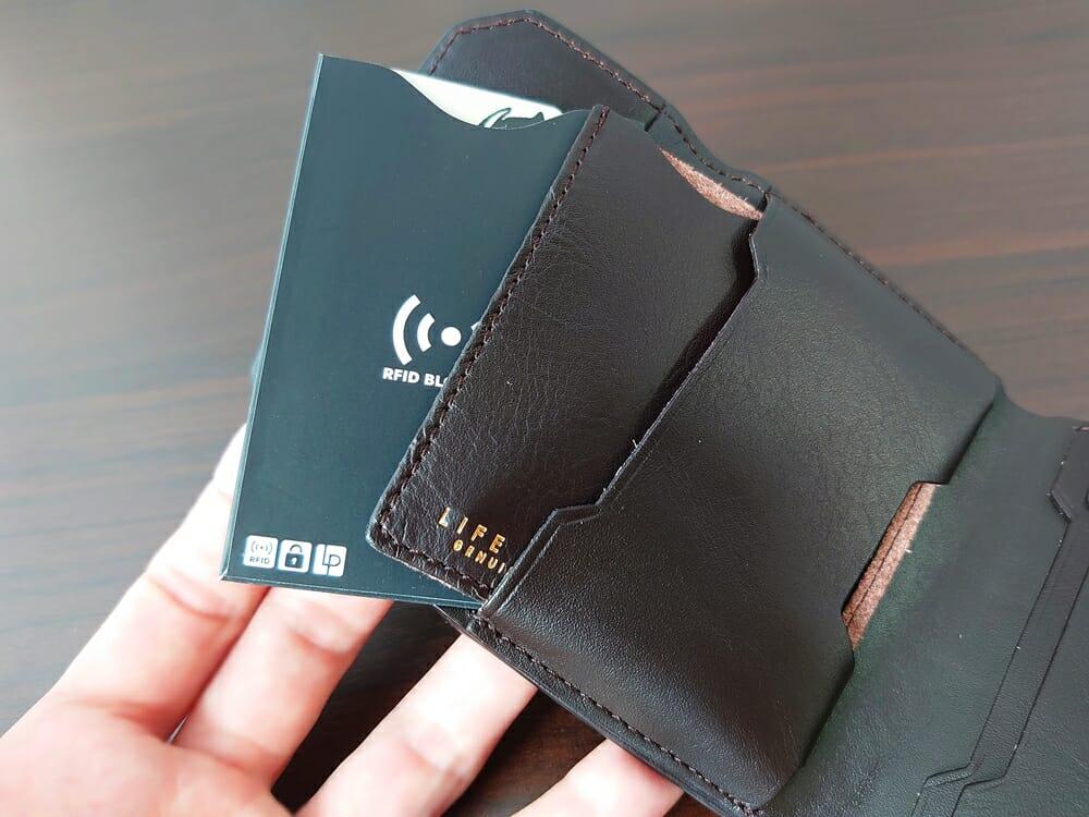 LIFE POCKET(ライフポケット)MiniWallet3 ミニウォレット3 espresso エスプレッソ 財布 収納 中央ポケット 収納例