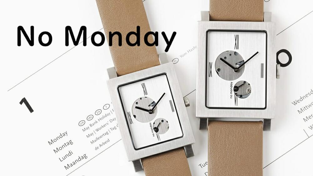 NO Monday(ノーマンデー)Open Heart オープンハート Silver Grey PAIR ペアウォッチ