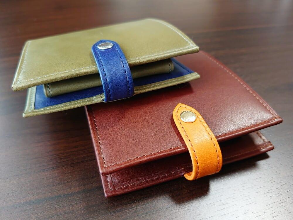 JOGGO(ジョッゴ)ENISHI 2つ折り財布 姫路レザー(グリーン、ブルー)(ブラウン、オレンジ)比較 財布 ベルト ホック