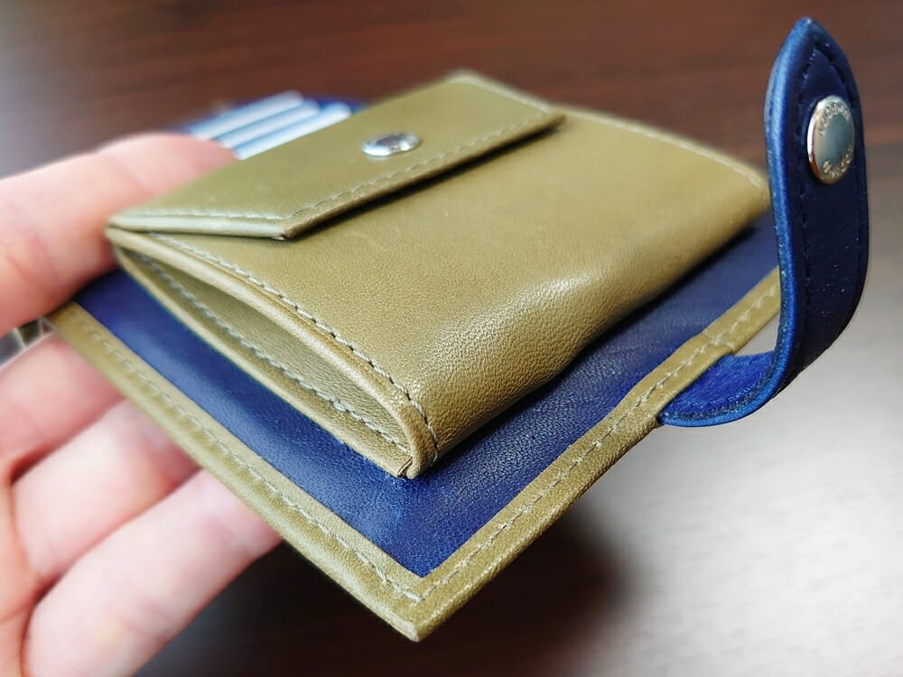 JOGGO(ジョッゴ)ENISHI 2つ折り財布 姫路レザー(グリーン、ブルー)小銭入れ 厚み