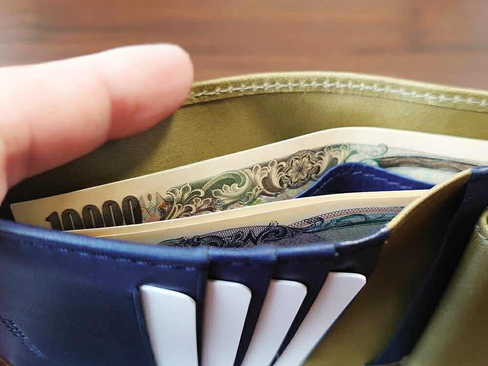 JOGGO(ジョッゴ)ENISHI 2つ折り財布 姫路レザー(グリーン、ブルー)札入れ 仕切り 深さ