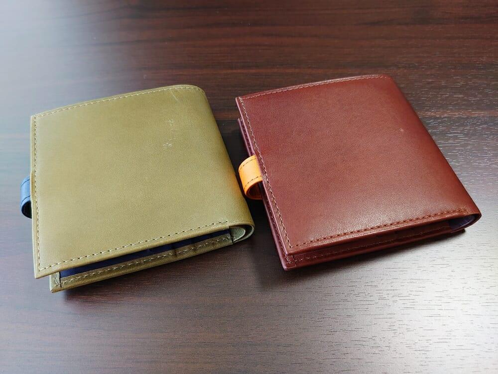 JOGGO(ジョッゴ)ENISHI 2つ折り財布 姫路レザー(グリーン、ブルー)(ブラウン、オレンジ)比較 財布背面