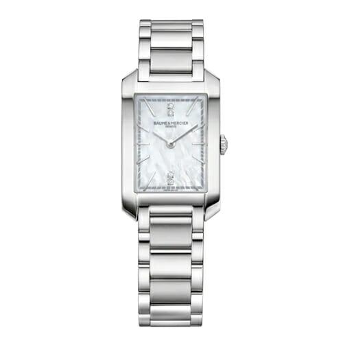 Hampton 10474 レクタンギュラークォーツウォッチ ダイヤモンドセット ホワイトマザーオブパールダイヤル BAUME&MERCIER(ボーム&メルシエ)レディースウォッチ