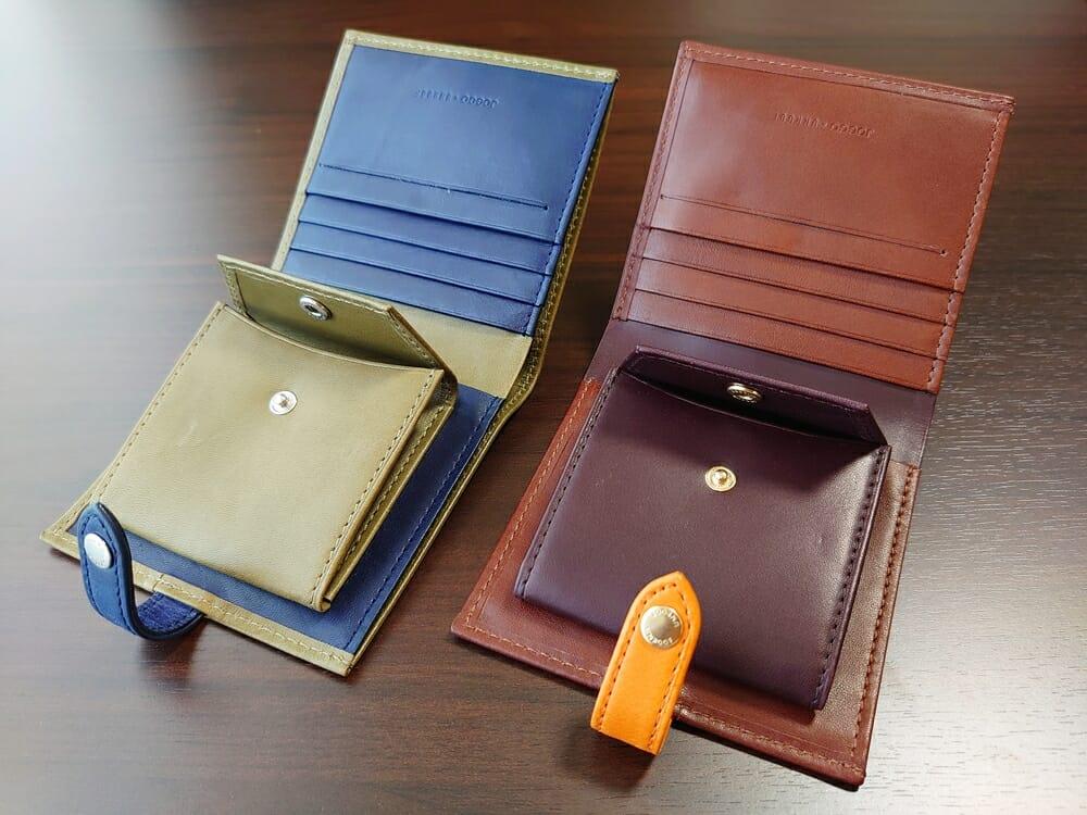 JOGGO(ジョッゴ)ENISHI 2つ折り財布 姫路レザー(グリーン、ブルー)(ブラウン、オレンジ)比較 財布見開き 小銭入れ