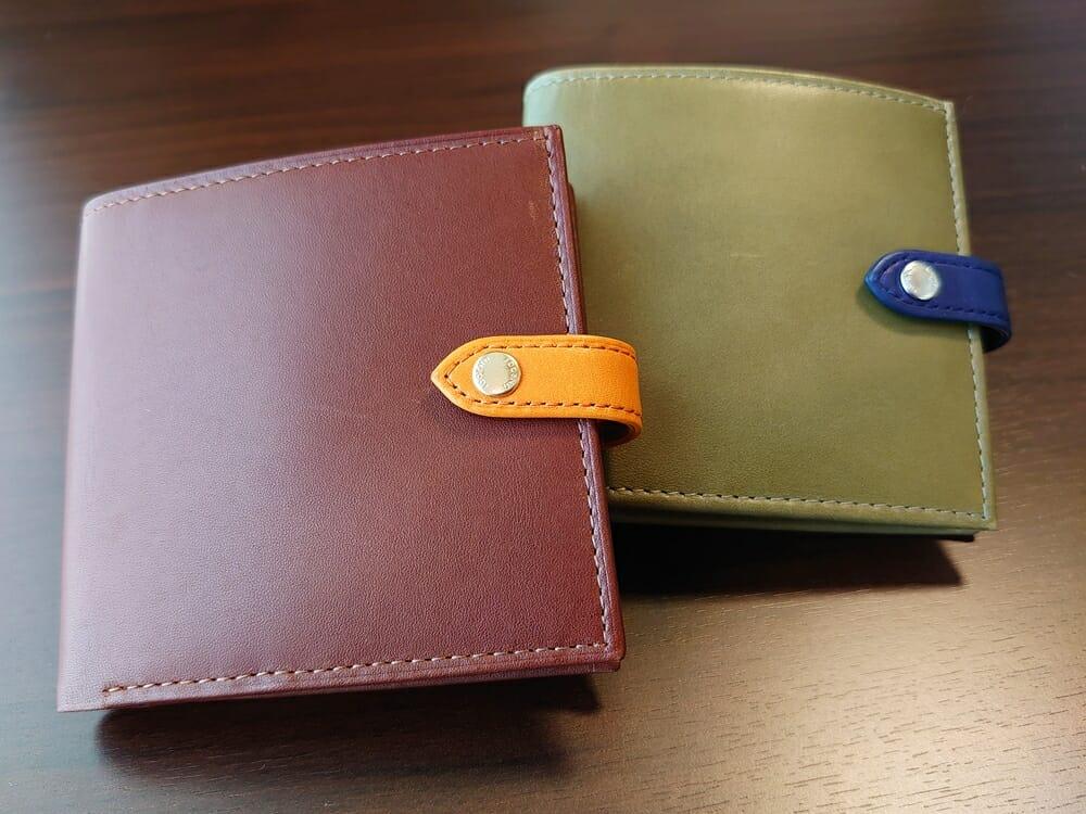 JOGGO(ジョッゴ)ENISHI 2つ折り財布 姫路レザー(グリーン、ブルー)(ブラウン、オレンジ)比較