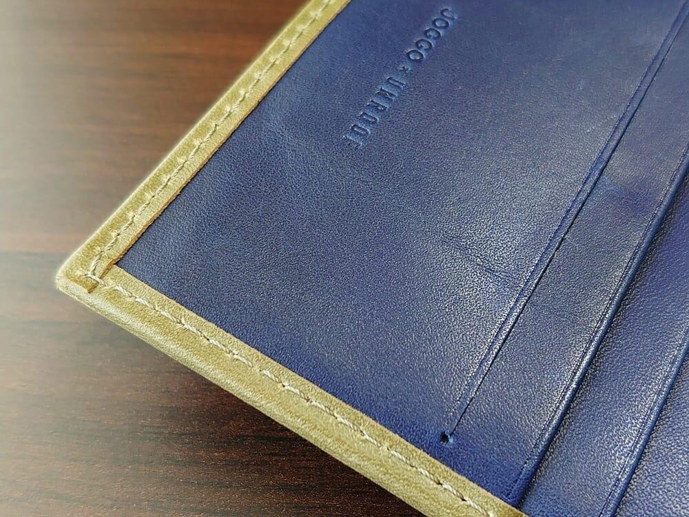 JOGGO(ジョッゴ)ENISHI 2つ折り財布 姫路レザー(グリーン、ブルー)内装 エッジ ステッチ 仕立て
