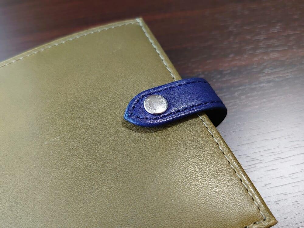 JOGGO(ジョッゴ)ENISHI 2つ折り財布 姫路レザー(グリーン、ブルー)ベルト ホック シルバー