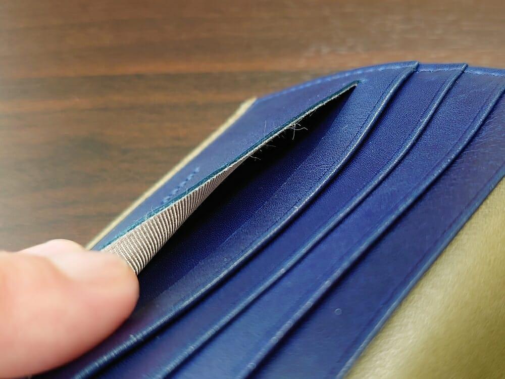 JOGGO(ジョッゴ)ENISHI 2つ折り財布 姫路レザー(グリーン、ブルー)カードポケット 手前 スリット