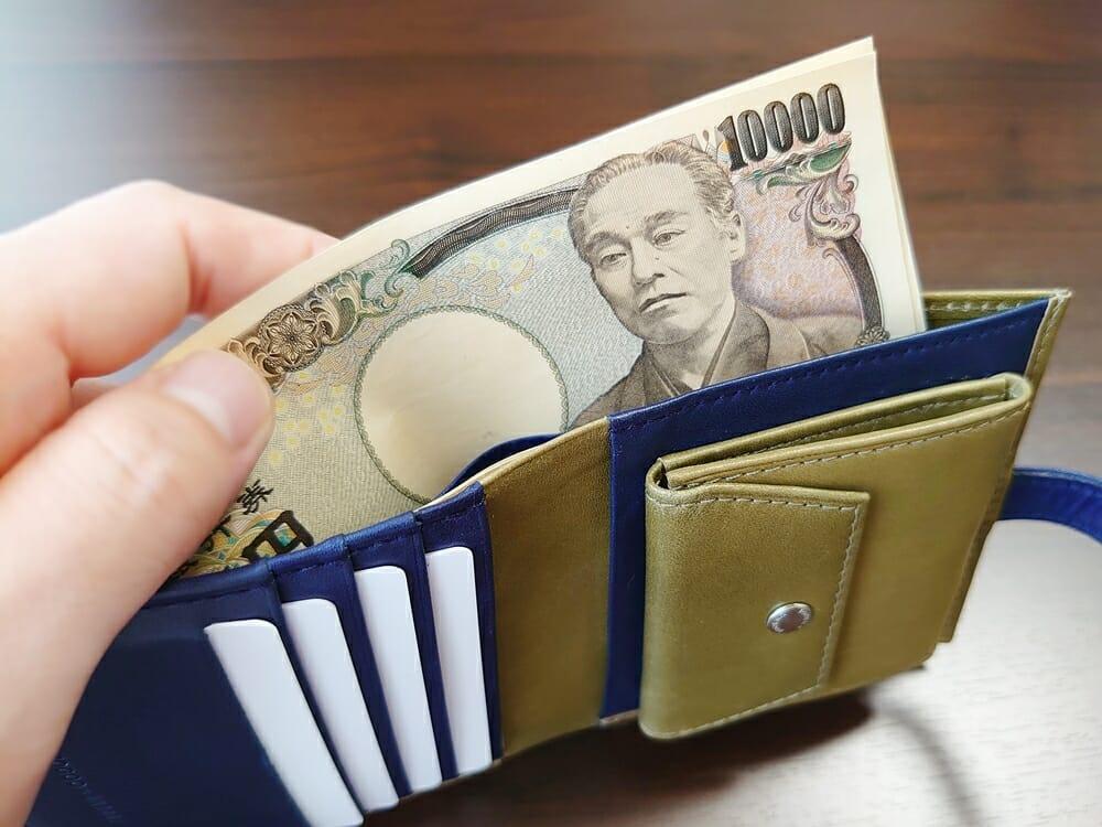 JOGGO(ジョッゴ)ENISHI 2つ折り財布 姫路レザー(グリーン、ブルー)札入れ 使い勝手1