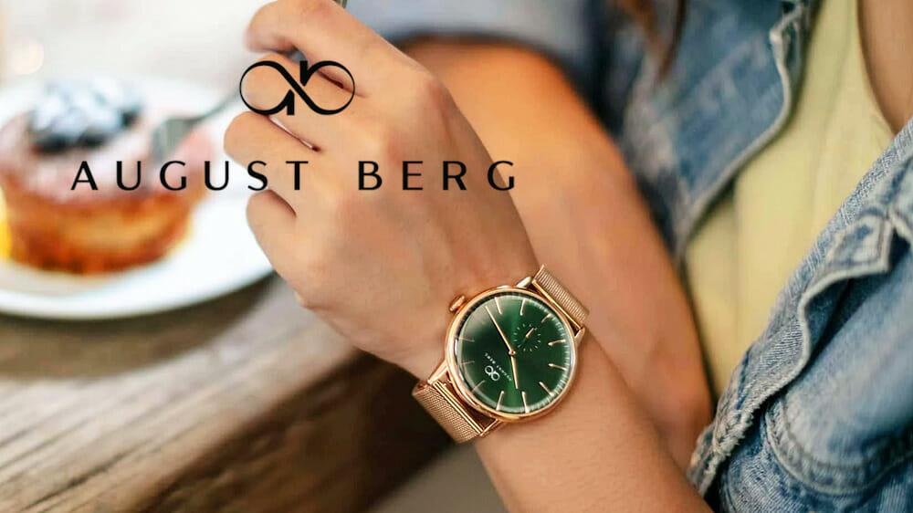 August Berg(オーガストバーグ)Serenity グリーンヒルローズゴールド|ローズゴールドメッシュ 40mm 女性