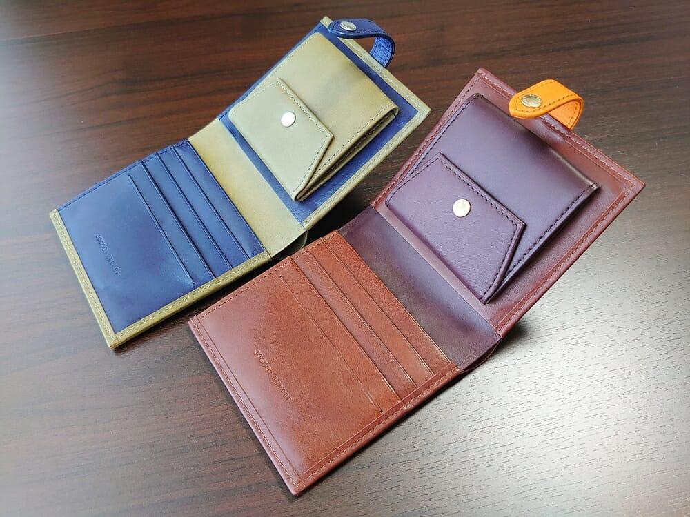 JOGGO(ジョッゴ)ENISHI 2つ折り財布 姫路レザー(グリーン、ブルー)(ブラウン、オレンジ)比較 財布見開き