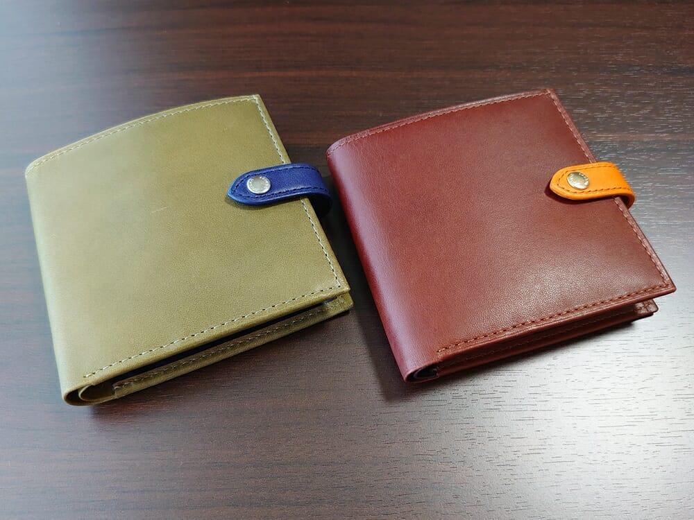 JOGGO(ジョッゴ)ENISHI 2つ折り財布 姫路レザー(グリーン、ブルー)(ブラウン、オレンジ)比較 財布正面