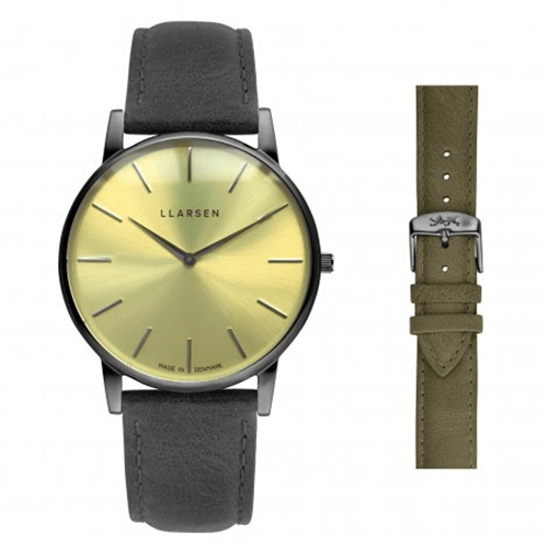 OLIVER (LW47) Oxidized steel with 2 leather straps package (Grey Forest)147OYGYFR エルラーセン LLARSEN