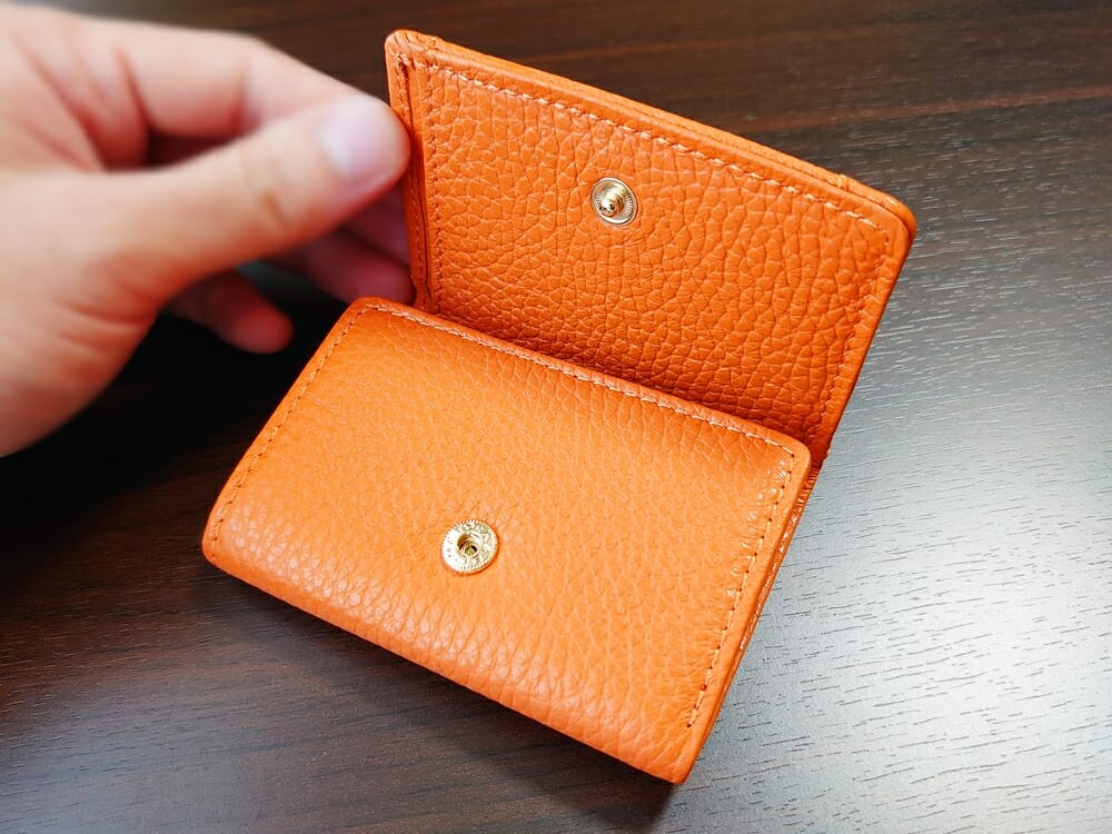 三つ折り財布 ST-909 イタリア製シュリンクレザー スキミング防止機能付 ミニ財布(オレンジ)MURA(ムラ)見開き1