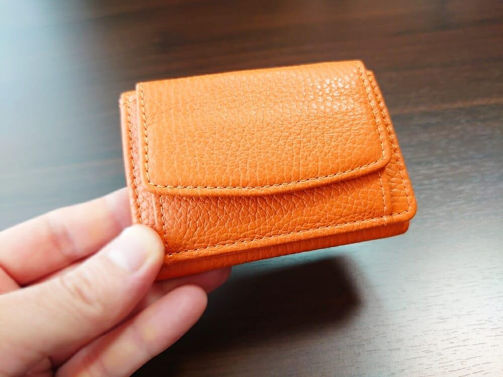 三つ折り財布 ST-909 イタリア製シュリンクレザー スキミング防止機能付 ミニ財布(オレンジ)MURA(ムラ)ボックス型小銭入れ