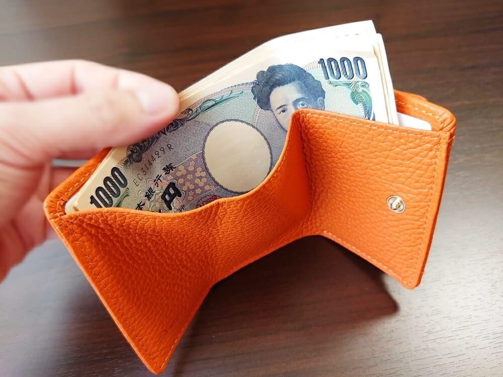 三つ折り財布 ST-909 イタリア製シュリンクレザー スキミング防止機能付 ミニ財布(オレンジ)MURA(ムラ)札入れの使い心地2