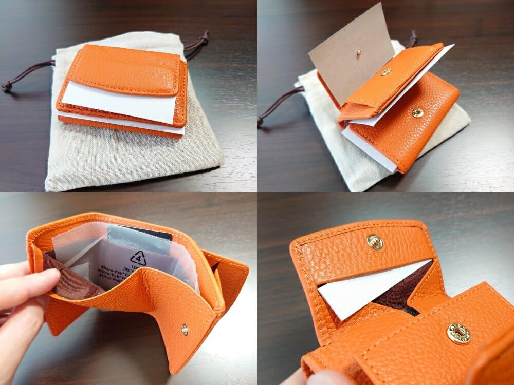 三つ折り財布 ST-909 イタリア製シュリンクレザー スキミング防止機能付 ミニ財布(オレンジ)MURA(ムラ)革の保護紙 フィルム1