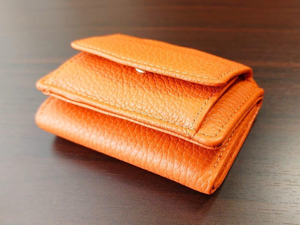 三つ折り財布 ST-909 イタリア製シュリンクレザー スキミング防止機能付 ミニ財布(オレンジ)MURA(ムラ)カード9枚収納 財布の厚み 全体