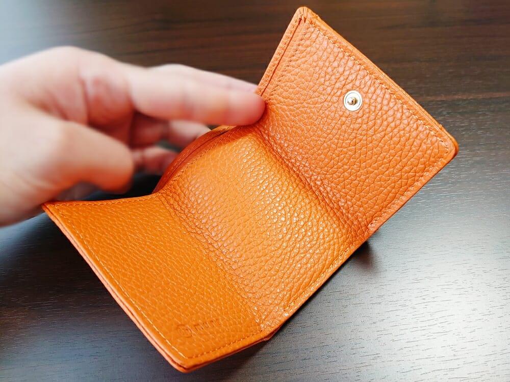 三つ折り財布 ST-909 イタリア製シュリンクレザー スキミング防止機能付 ミニ財布(オレンジ)MURA(ムラ)見開き2