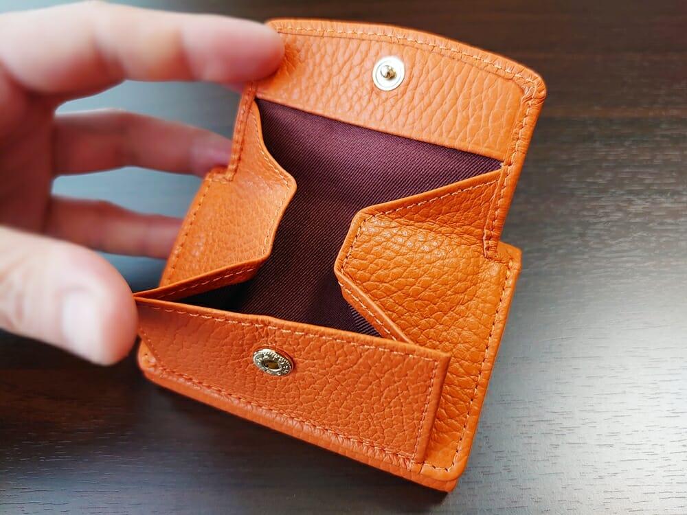 三つ折り財布 ST-909 イタリア製シュリンクレザー スキミング防止機能付 ミニ財布(オレンジ)MURA(ムラ)ボックス型小銭入れ 大きさ1
